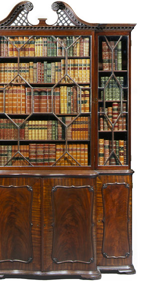 A Chippendale style mahogany carved bookcase